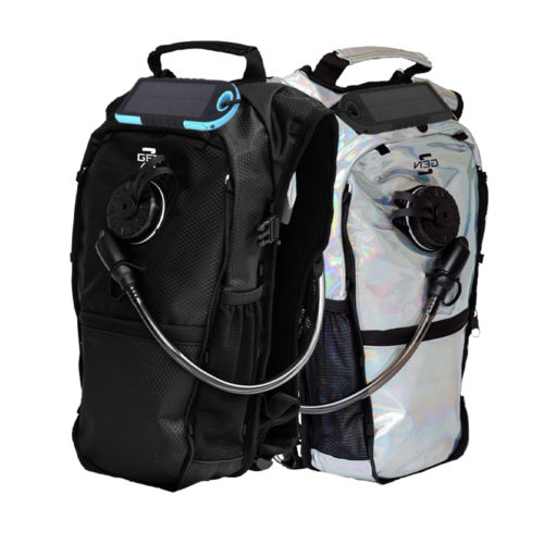 RaveRunner Anti-theft Hydration Pack with solar panel charger attachment