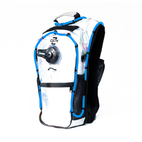 RaveRunner Hydration Holographic backpack with LED Lights Holographic Blue
