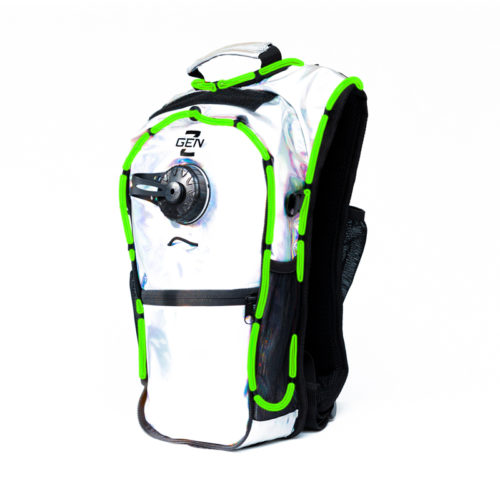 RaveRunner Hydration Holographic backpack with LED Lights holographic green