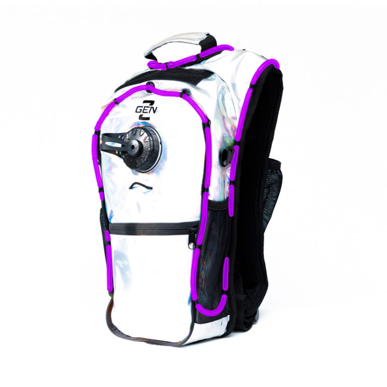 RaveRunner Hydration Holographic backpack with LED Lights holographic purple