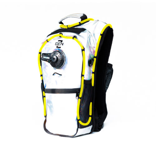 RaveRunner Hydration Holographic backpack with LED Lights holographic green Yellow