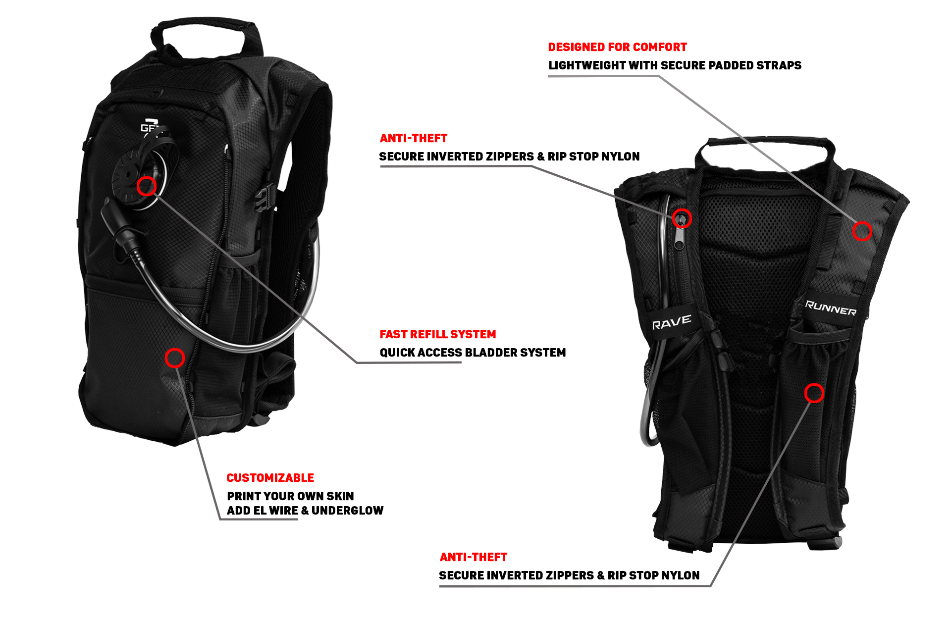The RaveRunner Hydration Pack. Perfect for festivals, running, and all other outdoor adventures. Made to be anti theft, customizable, and easily accessible. The best festival hydration pack for hydration pack rave.