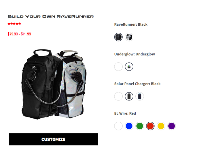 RaveRunner Hydration Pack custom builder for the best festival hydration pack.
